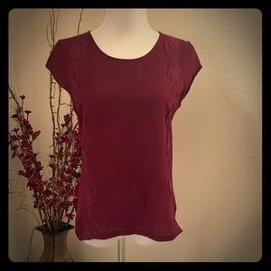 Red lace trimmed tee